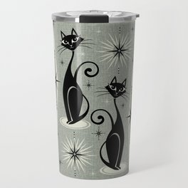 Mid Century Meow Retro Atomic Cats - Gray Travel Mug