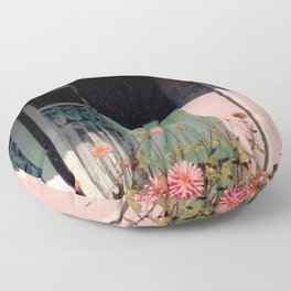 Cottage with Flowers Floor Pillow