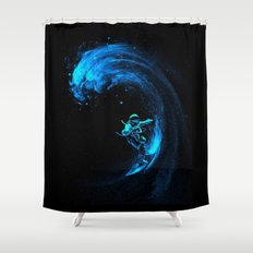 Space Surfer Surfing Shower Curtain