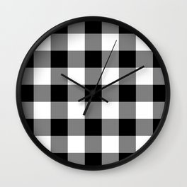 Black and White Buffalo Plaid Wall Clock