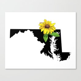 Maryland Silhouette and Flower Canvas Print