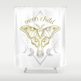 Moon Child - Gold Shower Curtain