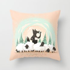 Wolf in the Flock Throw Pillow