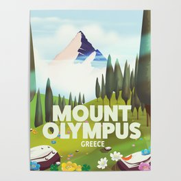 Mount Olympus, Greece, Travel poster Poster