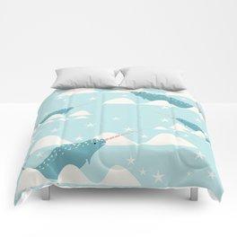 narwhal in ocean Comforters