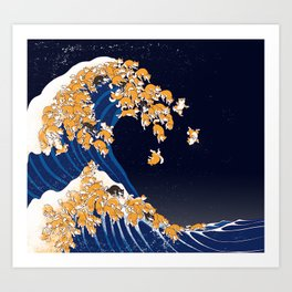 Shiba Inu The Great Wave in Night Art Print