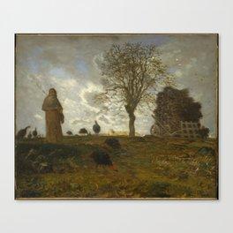 Autumn Landscape with a Flock of Turkeys,1872–73 Canvas Print