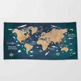 World Map Oceans Life blue #map #world Beach Towel