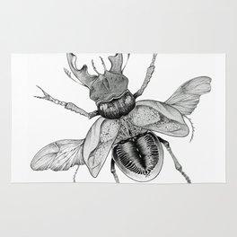Dotwork Flying Beetle Illustration Rug