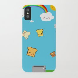 Flying Toast On Blue iPhone Case