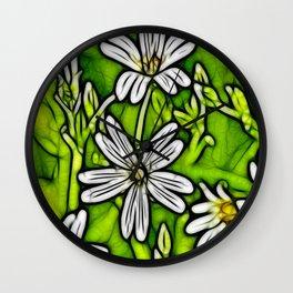 Fractal Stitchwort Wall Clock