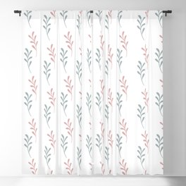 Pink blue gray watercolor hand painted leaves Blackout Curtain