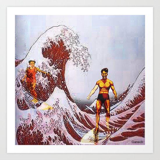 Surfing in Japan  Art Print