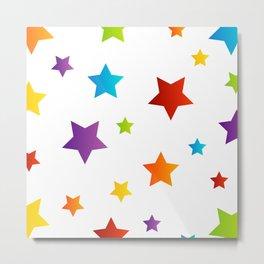 Rainbow stars on white Metal Print