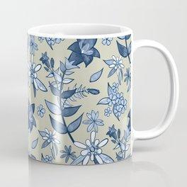 Monochrome Tan and Blue Alpine Flora Coffee Mug