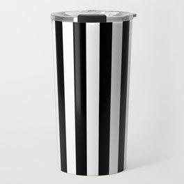 Black and White Even Small Stripes Travel Mug