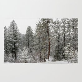 snowy trees Rug