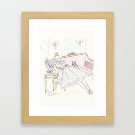 War and Peace Nap with French Bulldog & Kitty : Fashion & Fluffballs Framed Art Print