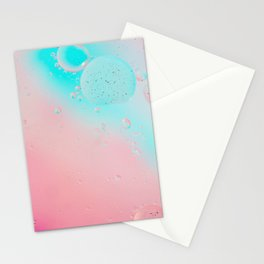 Oil drops in water. Defocused abstract psychedelic pattern image pastel colored. Abstract background with colorful gradient colors. Stationery Cards