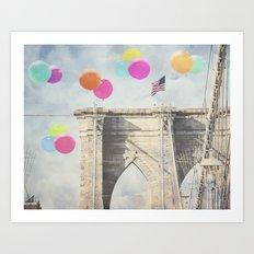 Bright Brooklyn Bridge Balloons Art Print