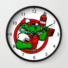Cartoon angry crocodile Wall Clock