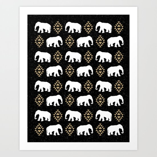 Elephant modern pattern print black gold glitter minimal with tribal influence gender neutral Art Print