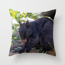 squirrel eating nut Throw Pillow