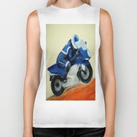 motorbike Biker Tanks featuring Art, painting, illustration, motorbike by WhitePanther