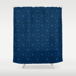 Lapis Blue Geometric Floral Abstract Shower Curtain