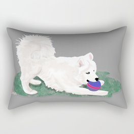 Ronin at Play; Samoyed Puppy Rectangular Pillow
