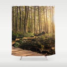 Forest Mountain Wanderlust Boardwalk - Nature Photography Shower Curtain