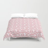 macaroon Duvet Covers featuring Rose Pink Macaron Pattern - France Art - French Macaroon by French Macaron Art Print and Decor Store