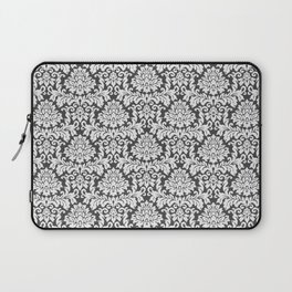 Vintage black white chic elegant floral damask Laptop Sleeve