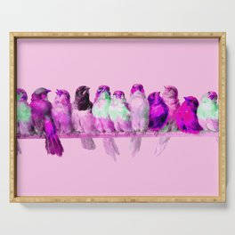 """Hector Giacomelli """"A Perch of Birds""""(edited pink) Serving Tray"""