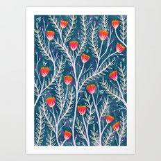 Tiny Moth Garden Pattern Art Print