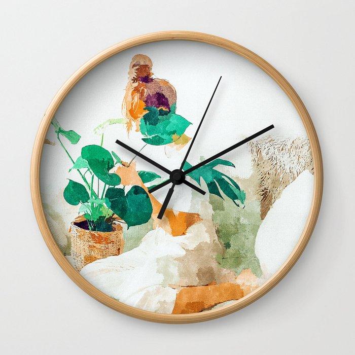 Me + Monstera #painting #minimal Wall Clock