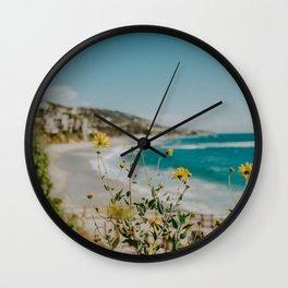 Laguna Beach and Yellow Flowers Wall Clock