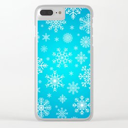 Blue Snowflake Winter Decoration Pattern Clear iPhone Case