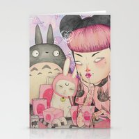 loll3 Stationery Cards featuring Noodle Eater by lOll3