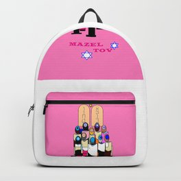 A Bat Mitzvah Design with a  Pink Background Backpack