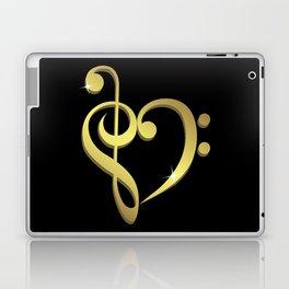 Treble clef, bass clef music heart love Laptop & iPad Skin