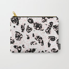 Tripple Terrazzo - Rose Pink Black & White Modern Speckle Pattern Carry-All Pouch
