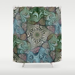 Labyrinth Mandala Blue Green Grey Shower Curtain