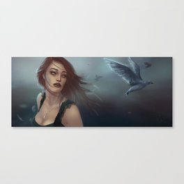 woman and birds Canvas Print