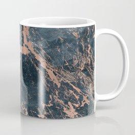 Blue & Rose Gold Marble Coffee Mug