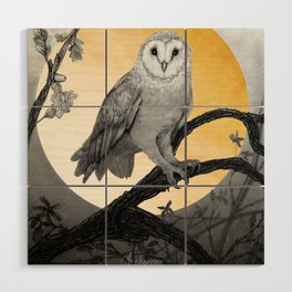 Golden Owl Wood Wall Art
