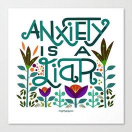 Anxiety is A Liar (teal) Canvas Print