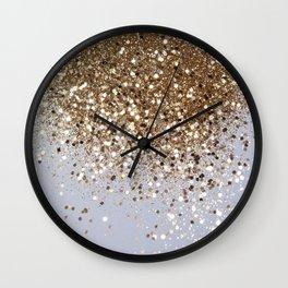 Sparkling Champagne Gold Glitter Glam #1 #shiny #decor #art #society6 Wall Clock