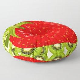 GREEN KIWI & RED STRAWBERRY ART Floor Pillow