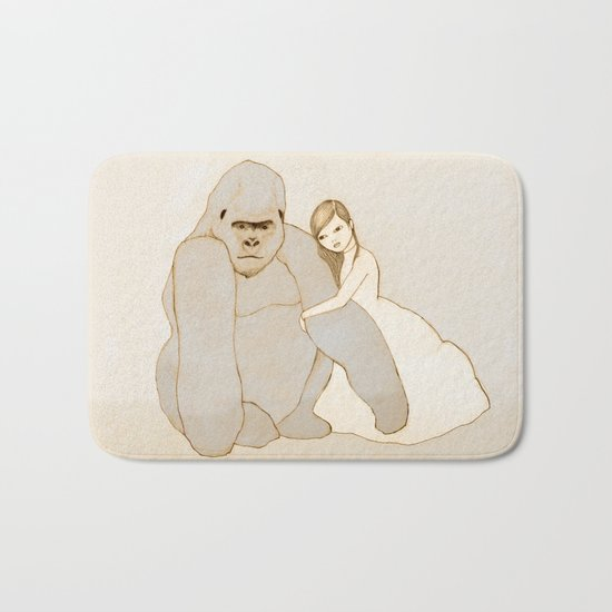 Gorilla and Girl Bath Mat